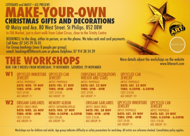 Make your own Xmas gifts workshop.